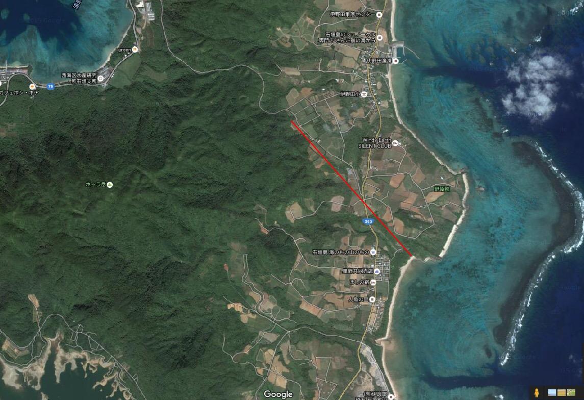 伊野田付近の活断層の大まかな場所